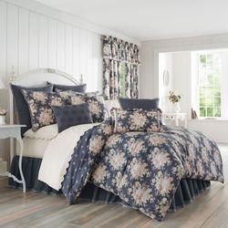 Braylee Reversible Floral Cobalt Comforter Bedding By