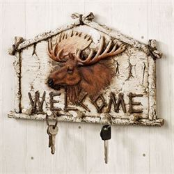 Moose Wall Hook Welcome Plaque Off White