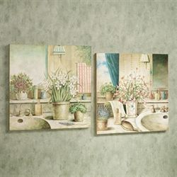 Vanities in Bloom Wall Plaque Set Multi Pastel Set of Two