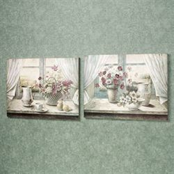 Simplistic Setting Wall Plaque Set Multi Pastel Set of Two