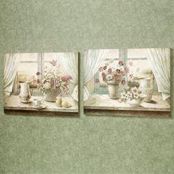 Simplistic Setting Wall Plaque Set Multi Pastel Set of Two