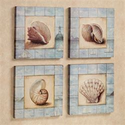 Sea Dreams Wall Plaque Set Multi Pastel Set of Four
