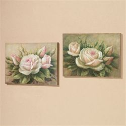 Delicate Petals Canvas Art Set Multi Pastel Set of Two