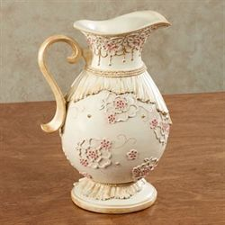 Maristella Floral Decorative Pitcher Ivory