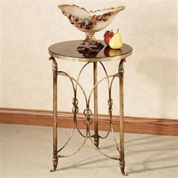Double Ring Round Accent Table Antique Gold