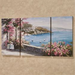 Romantic Hideaway Italian Harbor Scene Triptych Canvas Wall Art Set