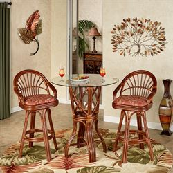 Leikela Bar Table with Two Stools Papaya Medley Set of Three