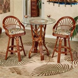 Leikela Bar Table with Two Stools Rain Forest Set of Three