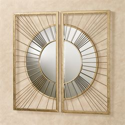 Sunburst Array Mirrored Wall Art Gold Set of Two