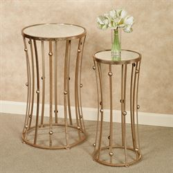 Banning Pedestal Tables Rose Gold Set of Two