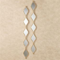 Teardrop Wall Mirror Panels Gold Pair