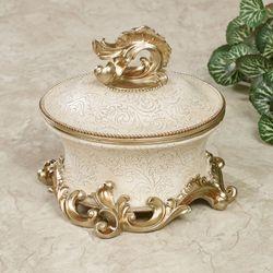Frona Decorative Covered Box Ivory/Gold