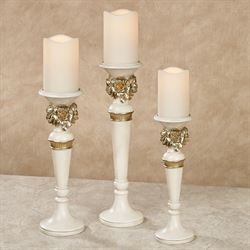 Abiline Candleholders Ivory/Gold Set of Three