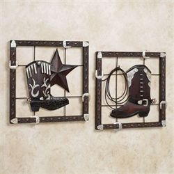 Laredo Wall Plaque Set Dark Bronze Set of Two
