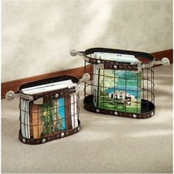Laredo Magazine Basket Set Dark Bronze Set of Two