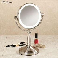 Cordless LED Vanity Mirror Satin Nickel