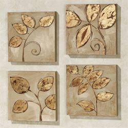 Golden Leaves Canvas Set Gold Set of Four