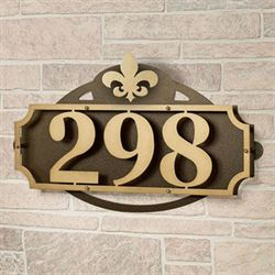 La Casa Fleur de Lis House Number Wall Address Sign Gold/Bronze