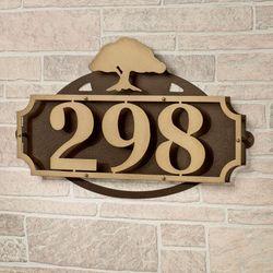 La Casa Tree House Number Wall Plaque Gold/Bronze Tree