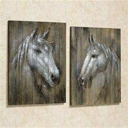 Rustic Horses Wall Plaques Brown Set of Two