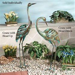 Crane Sculpture with Head Up Teal
