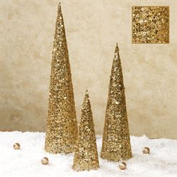 Glitter and Sequins Tree Accents Gold Set of Three