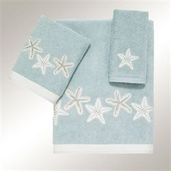 Sequin Shells Bath Towel Set Pale Aqua Bath Hand Fingertip