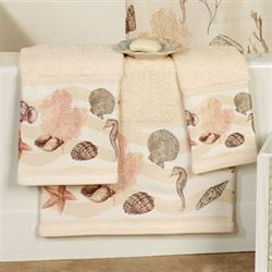 Seashore Bath Towel Set Cream Bath Hand Fingertip
