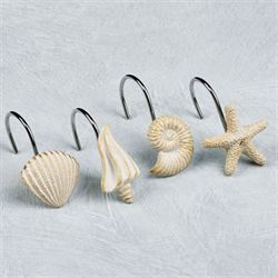 Seashore Shower Hooks Cream Set of Twelve