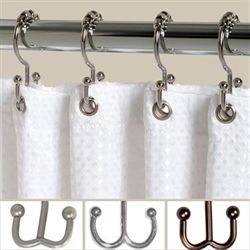 Double Roller Shower Hooks Set of Twelve
