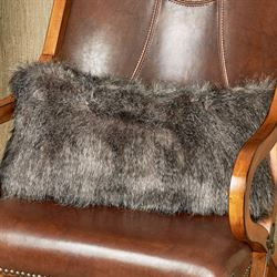 Native Faux Fur Bolster Pillow Gray