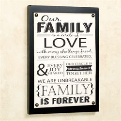 Our Family Wall Plaque Sign Ivory Black