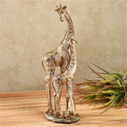 Giraffe Family Sculpture Champagne Gold