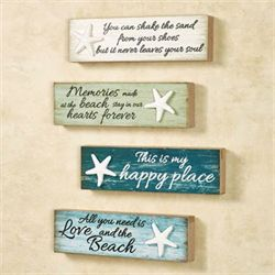 Beach Memories Wall Plaques Multi Cool Set of Four