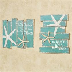 Starfish Wall Plaques Multi Cool Set of Two