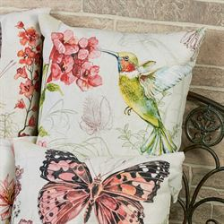 Butterfly Side View Pillow Multi Pastel 18 Square