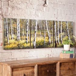 Birch Forest Canvas Art Set White Set of Three