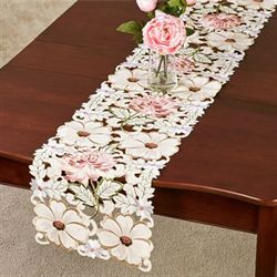 All Over Mums Long Table Runner Multi Pastel 13 x 65