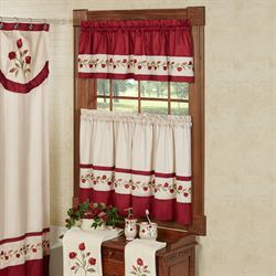 Briar Rose Embroidered Floral Window Tier And Valance Set