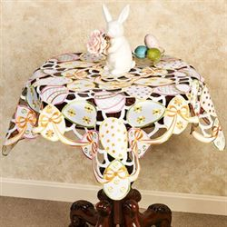 All Over Easter Eggs Table Topper Multi Pastel 36 Square