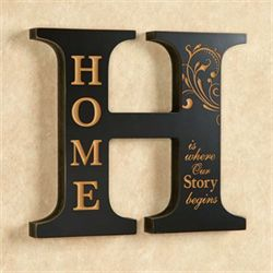 Home Letter Wall Plaque Black