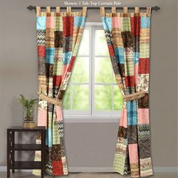 New Bohemian Tab Top Curtain Pair Multi Warm 84 x 84
