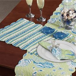 Green Seashells Quilted Placemat Set Set of Four