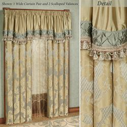 Duchess Wide Tailored Curtain Pair Seafoam 104 x 84