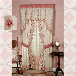 Coras Garden Tailored Curtain Pair Ivory 84 x 84