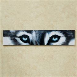 Siberian White Wolf Eyes Canvas Wall Art Gray