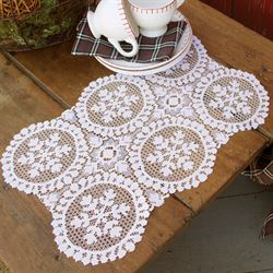 Snowfall Lace Placemat Set White Set of Four