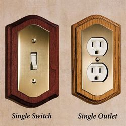 Brass and Wood Single Switch