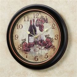 Grapes and Wine Wall Clock Black