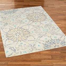 Floral Stone Rectangle Rug Natural